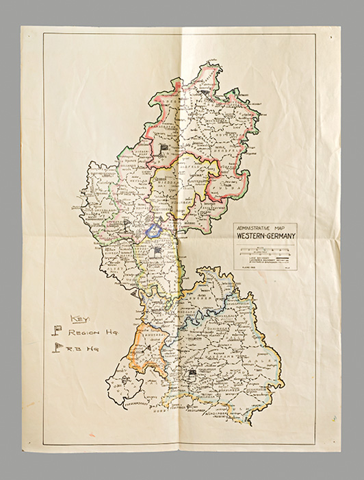 Archive: Hand-colored map of the division of Germany; 25 V-Mail letters