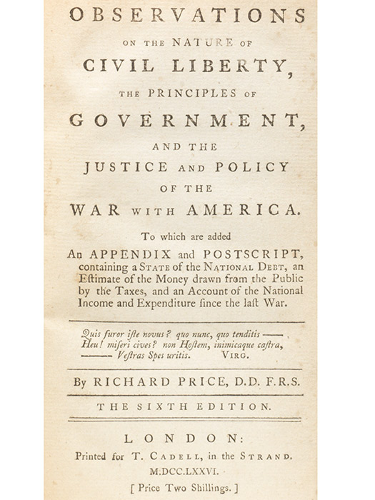 Observations on the Nature of Civil Liberty. BOUND WITH: (PORTEUS) Letter to the Clergy