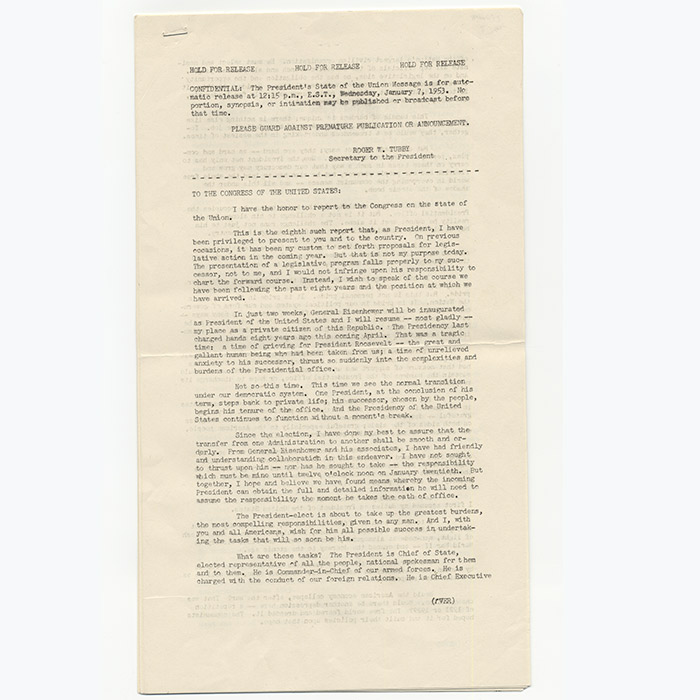 Advance Press Transcript of Truman's Final State of the Union Address, Signed