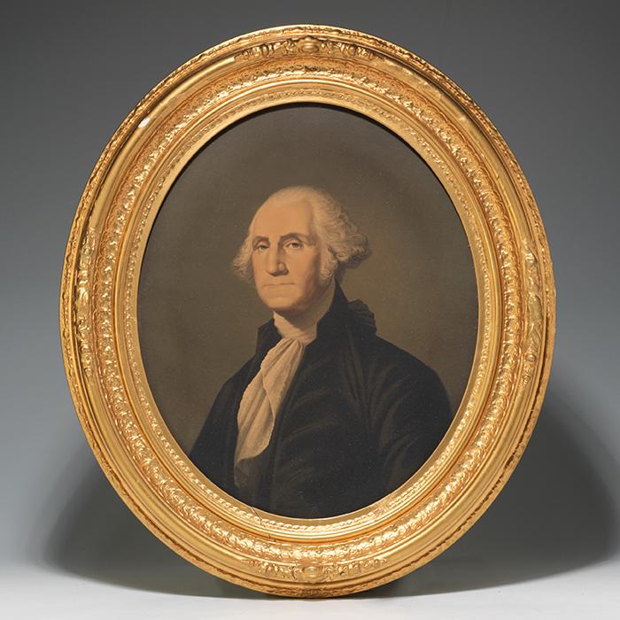 Framed chromolithographic portraits of George and Martha Washington