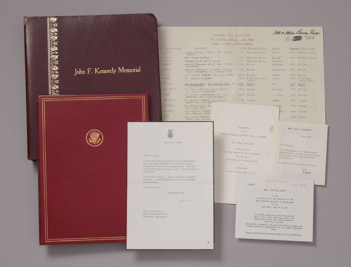 Archive from the Inauguration of the British Memorial to President John F. Kennedy, including program inscribed and typed letter signed with envelope free frank