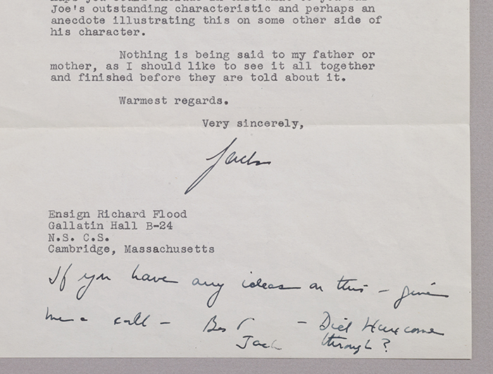 Typed letter signed with autograph postscript. WITH: As We Remember Joe