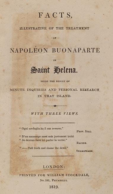 Facts, Illustrative of the Treatment of Napoleon Buonaparte in Saint Helena