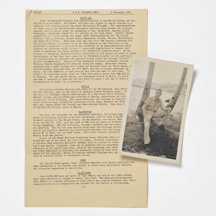 Mimeographed typescript of the USS Salamaua News