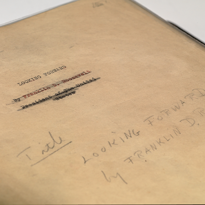 Hand-corrected manuscript for Looking Forward