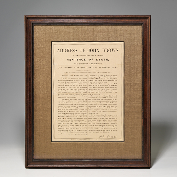 "Broadside. ""Address of John Brown."""