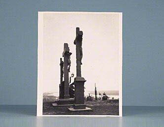 """Photographic print. [""""Esztergom: Three Crosses""""]"""