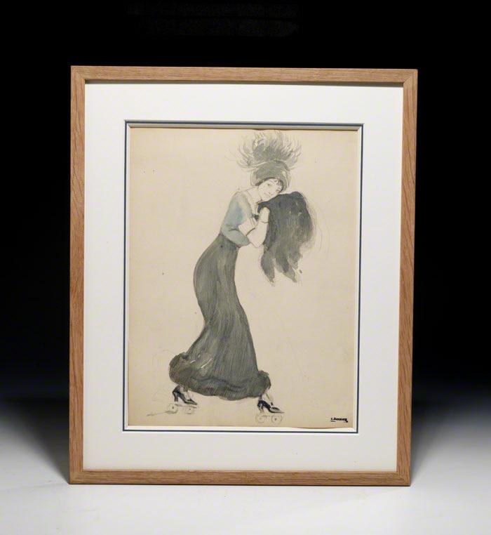 """Original watercolor, """"Les Patins a Roulettes"""""""