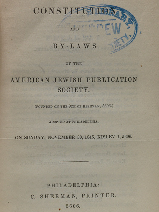 Constitution and By-Laws… American Jewish Publication Society