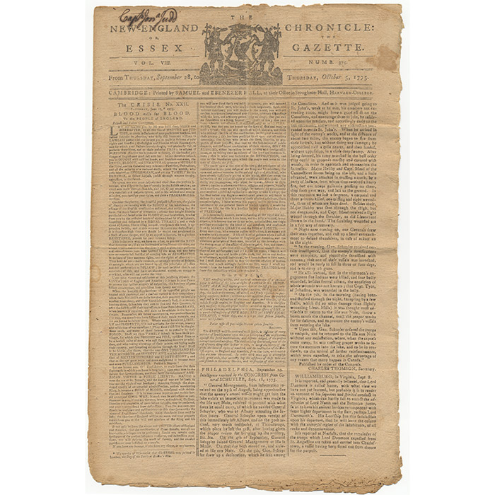 """""""The Crisis."""" IN: The New-England Chronicle: or, Essex Gazette [Newspaper printing]"""