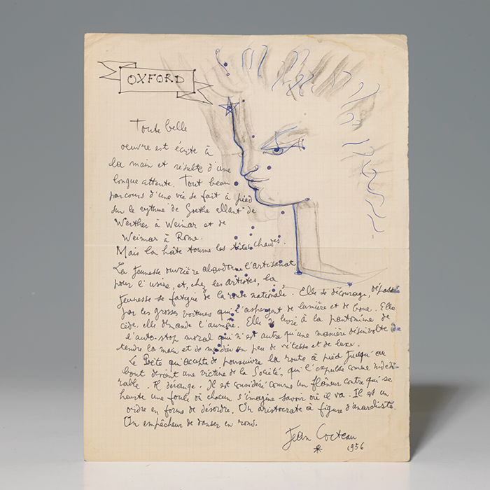 Original drawing and autograph manuscript