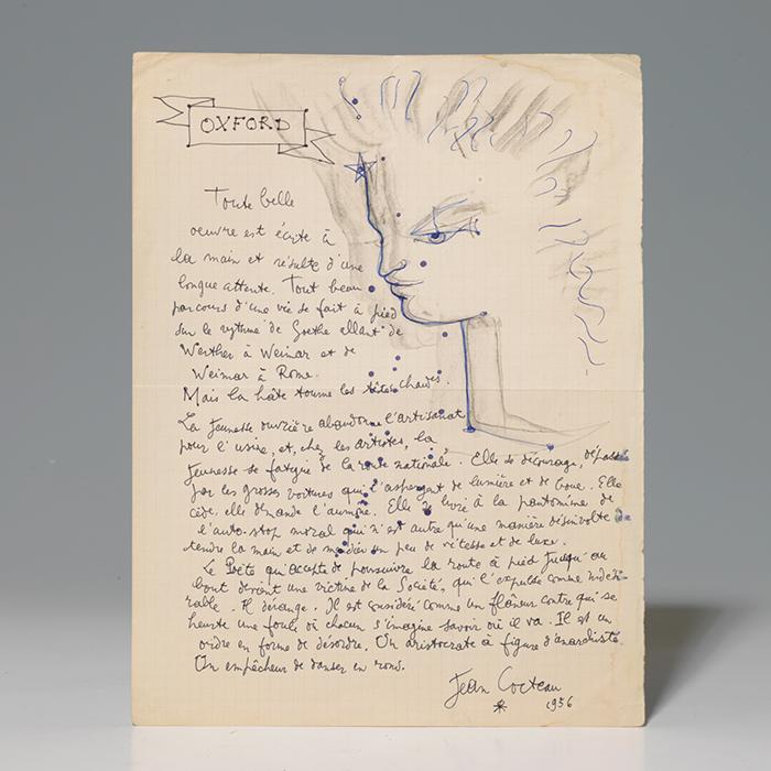 Original drawing and autograph manuscript