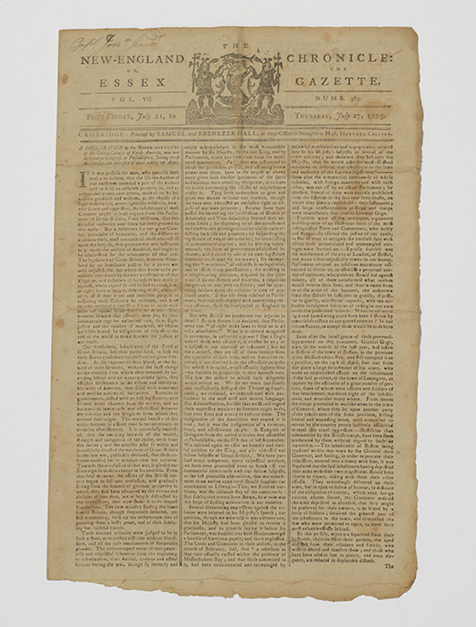 Declaration... [on] Taking Up Arms. [Newspaper printing]
