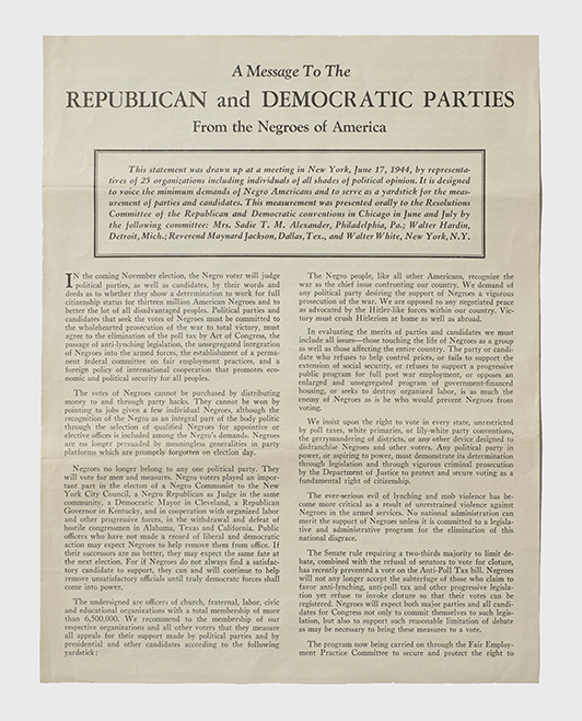 """Handbill [""""A Message to the Republican and Democratic Parties from the Negroes of America""""]"""