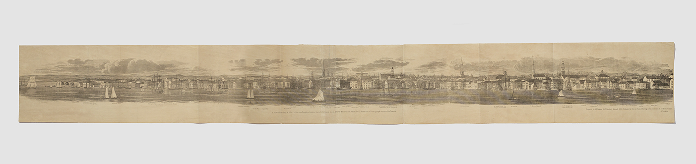 """Folding panorama [""""A View of the City of New-York from Brooklyn Heights, foot of Pierrepont St., in 1798""""]"""