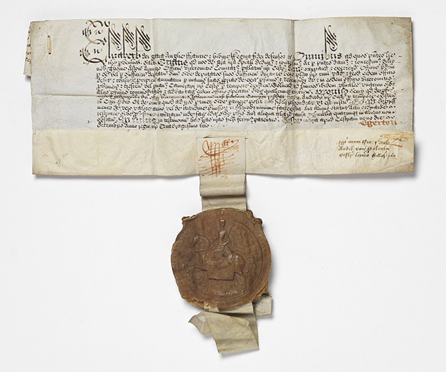 Manuscript document, with original hanging wax seal