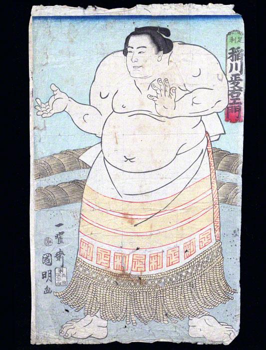 Sumo Wrestler Woodblock Print: Inagawa Masaemon