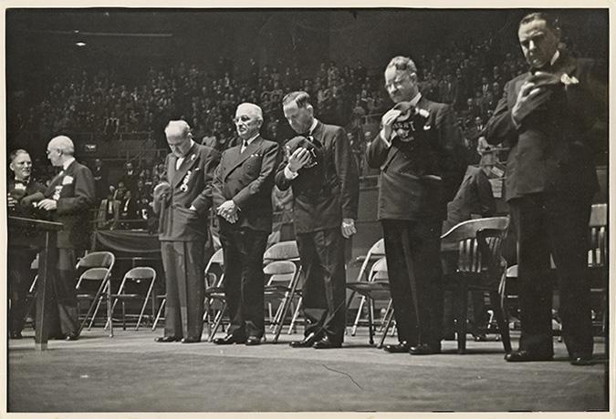 Copy-print of Harry Truman listening to National Anthem