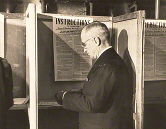 Original photograph of Harry Truman Voting