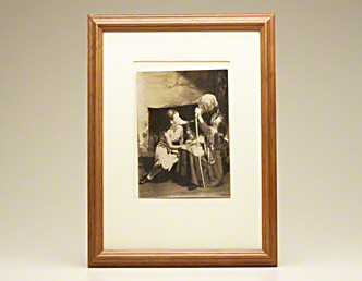 Photograph signed (girl and woman before fireplace)