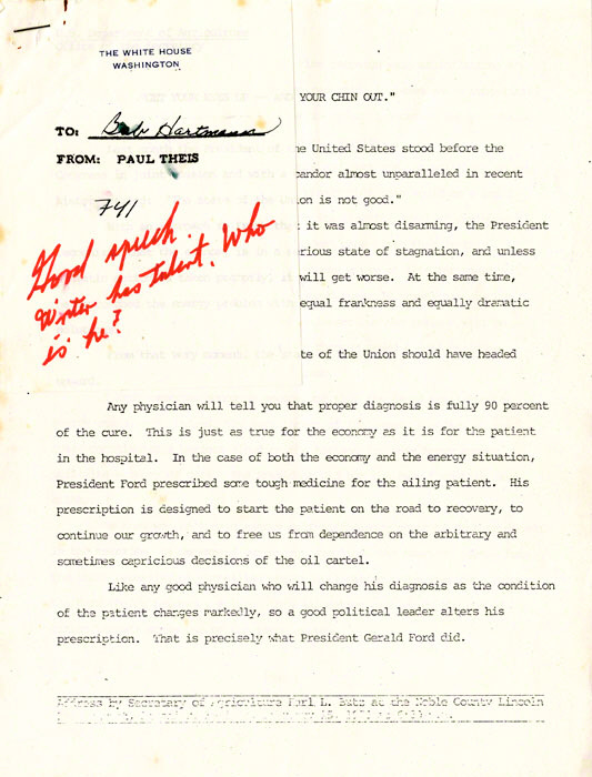 Archive of White House internal memoranda, initialed by Ford