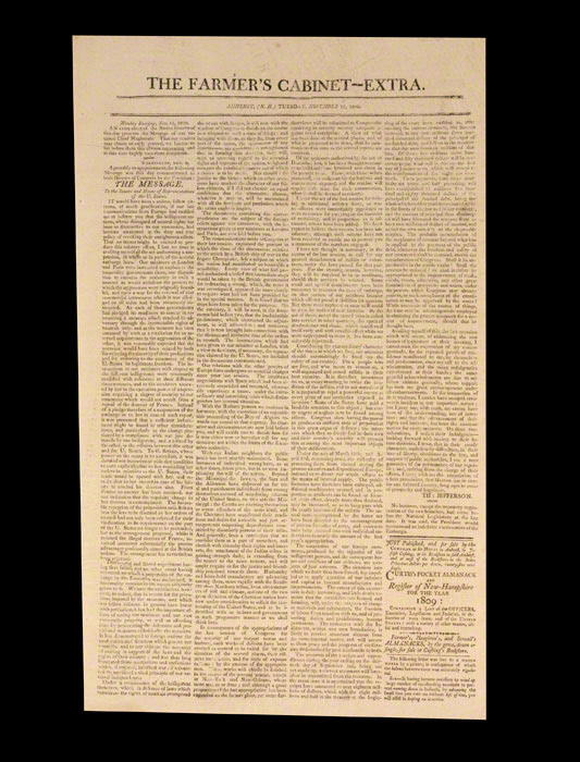 Eighth Annual Message to Congress [Farmer's Cabinet 'Extra'  Amherst, NH]