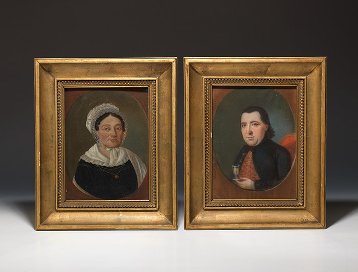 Two early 19th-century gouache portraits